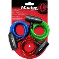 3-Pack 6-Ft. Multi-Purpose Keyed-Alike Bike Lock With 8mm Colored Cables