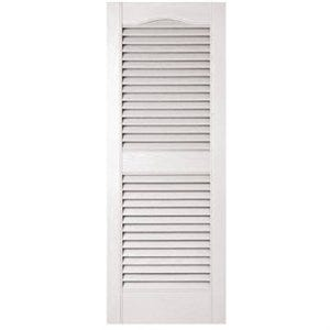 15 x 39-In. White  Louvered Shutters, Vinyl Arched Top Center Rail, Pair