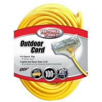 100-Ft. 12/3 SJTW-A Yellow 3-Outlet Extension Cord