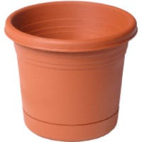 Americana Planter & Saucer, Plastic, Terra Cotta, 6-In.