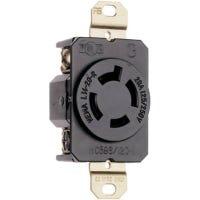 Locking Outlet, Black,  NEMA L14-20r, 125/250-Volt