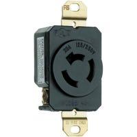 Locking Outlet, Black,  Non-NEMA, 125/250-Volt, 20-Amp