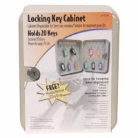 Key Cabinet, Lockable, Holds 20 Keys, Gray
