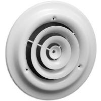 Round Ceiling Diffuser, Steel, White, 6-In.