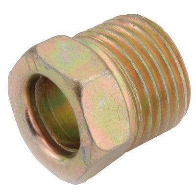 Brass Threaded Inverted Flare Steel Nut, 1/4-In.