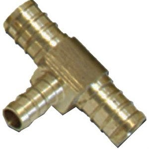 Pex Pipe Fitting, Tee, Brass, Lead-Free, 1/2 x 3/8 x 3/8-In. Barb