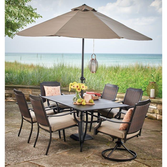 Charleston Wicker/Steel Cushioned Chair Patio Dining Set