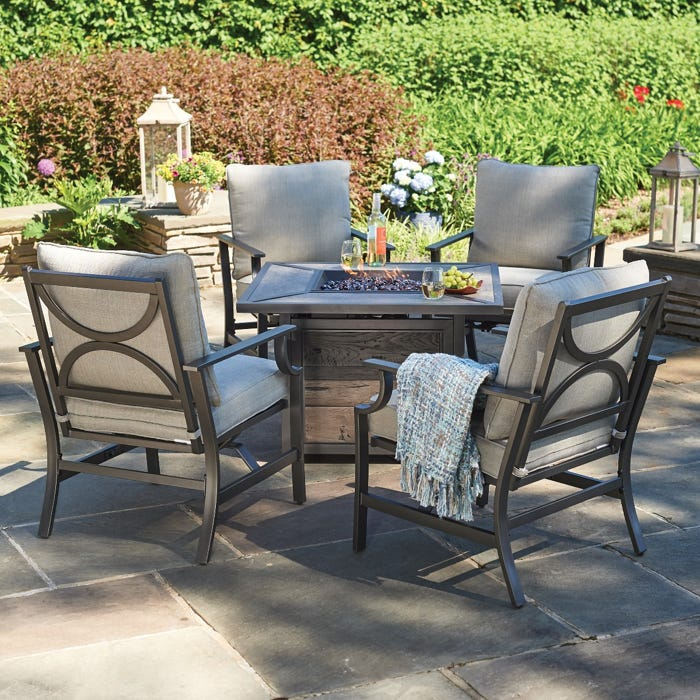 Evanston Fire Pit & Rocker Chair Patio Seating Set