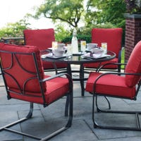 Kastoria Cushioned Chair Steel Patio Dining Set