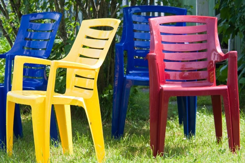 Colorful plastic chairs outdoors