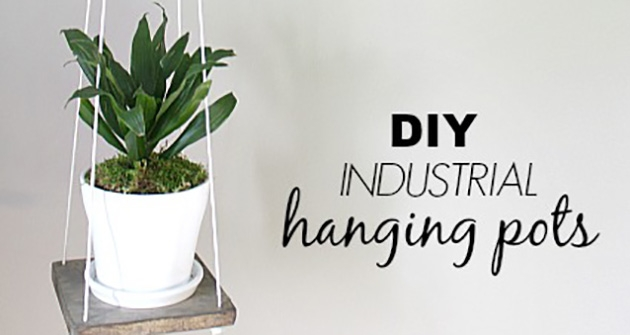 DIY industrial hanging pots