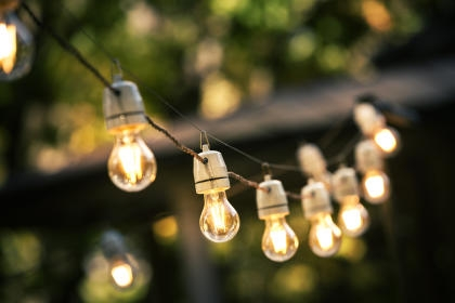 Outdoor string lights on patio