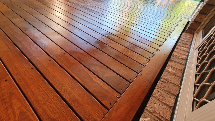 Completed, stained deck