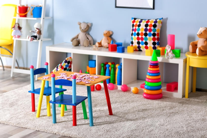 Colorful, brightly painted kids' furniture
