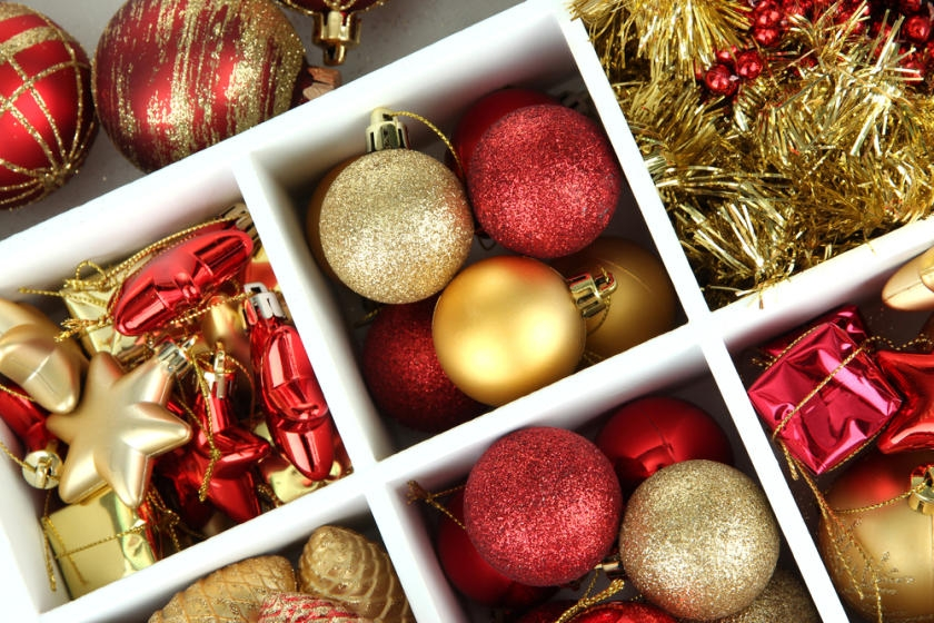 Christmas ornaments stored in sturdy container