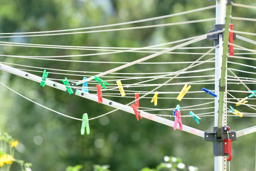 Umbrella clothesline in yard