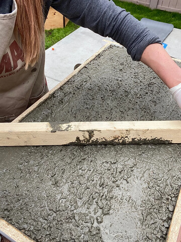 Pouring and Leveling Concrete Table Top in Wood Frame